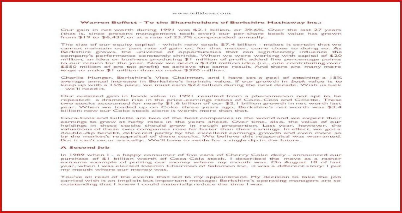 Warren Buffett Letter To Shareholders Pdf