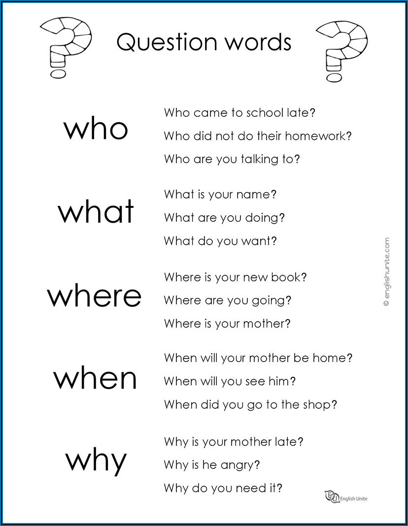 Wh Question Words Worksheet Pdf