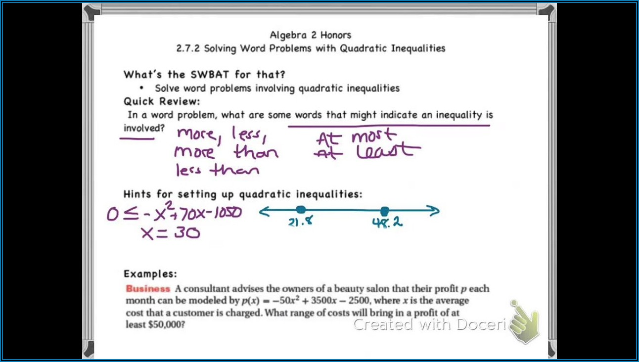 Word Problems Involving Quadratic Equations Worksheets Pdf