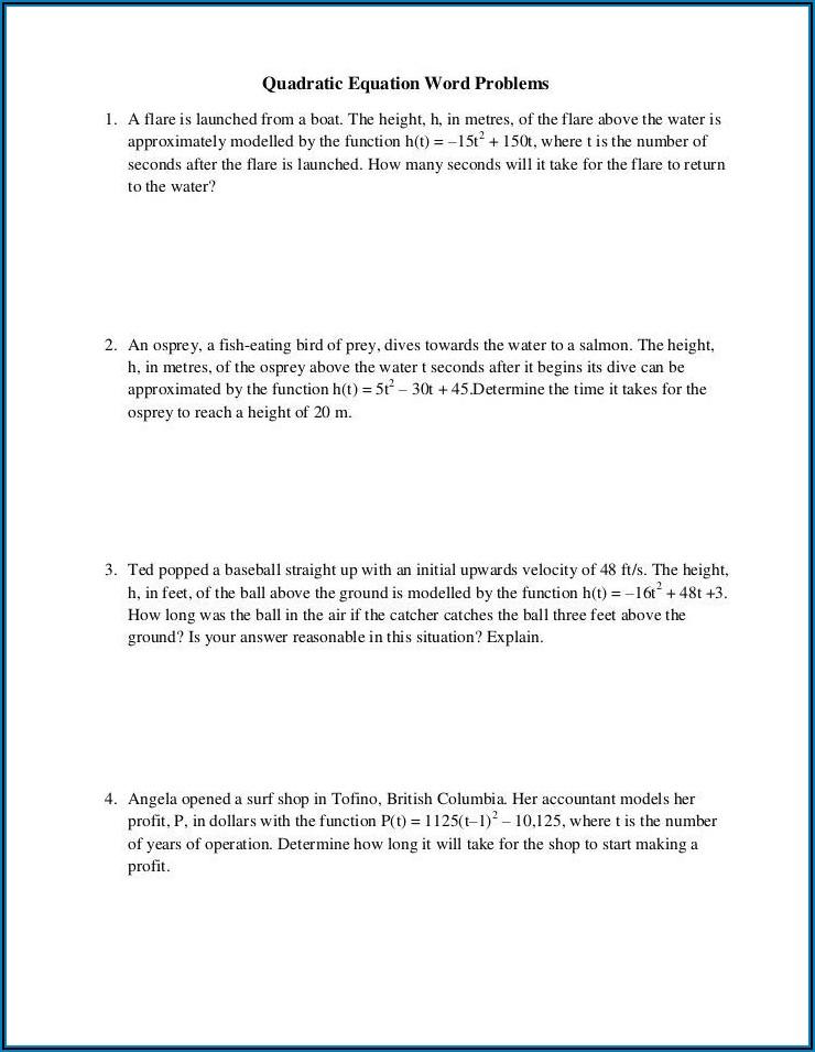 Word Problems Using Quadratic Equations Worksheet