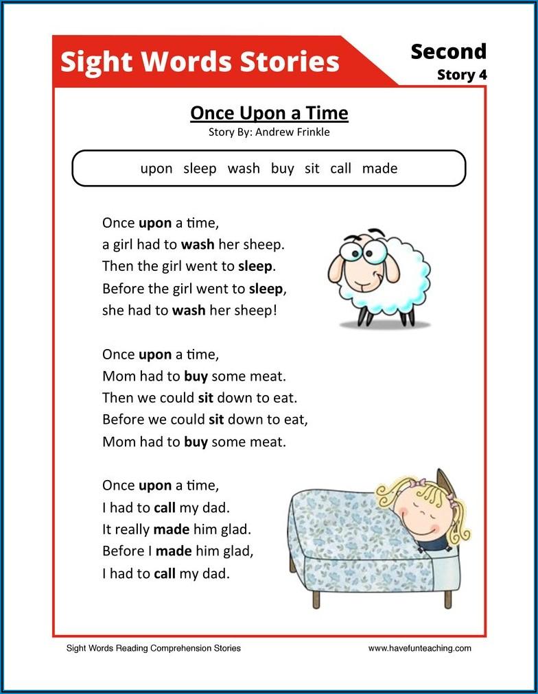 Worksheet Reading Sight Words