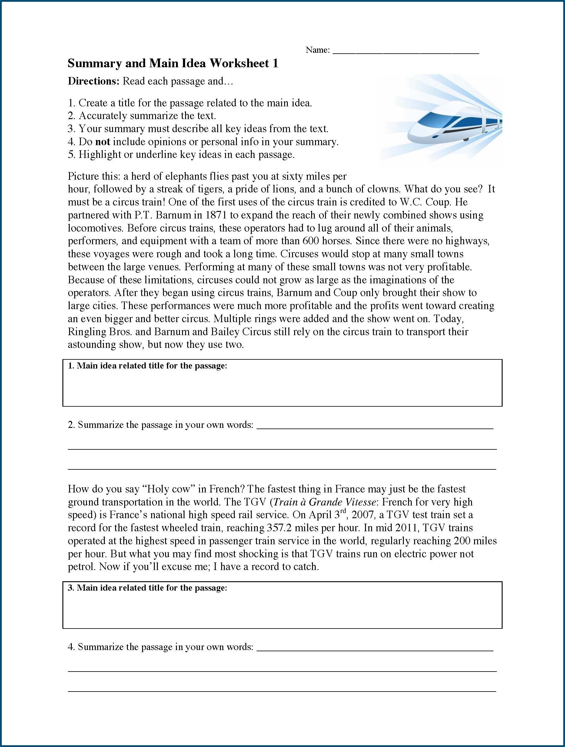 Writing A Summary Worksheet Middle School