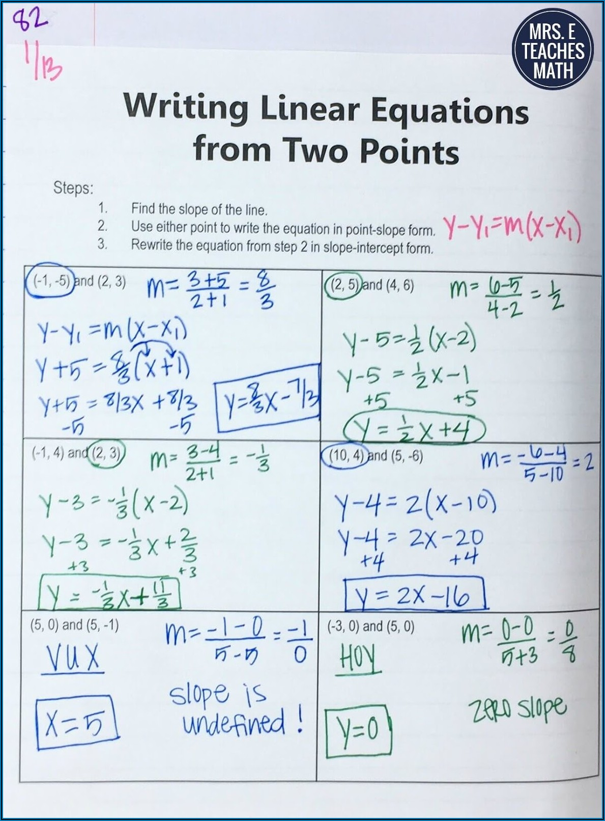 Writing Equations Of Lines Worksheet With Answers