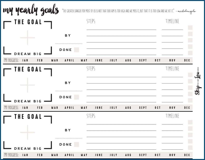 Yearly Goal Setting Worksheet