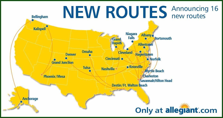 Allegiant Airlines Route Map 2019