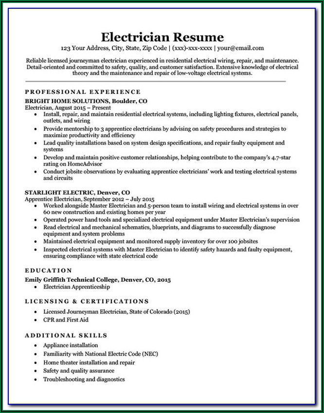 Best Resume Format For Electrical Engineers Free Download Pdf