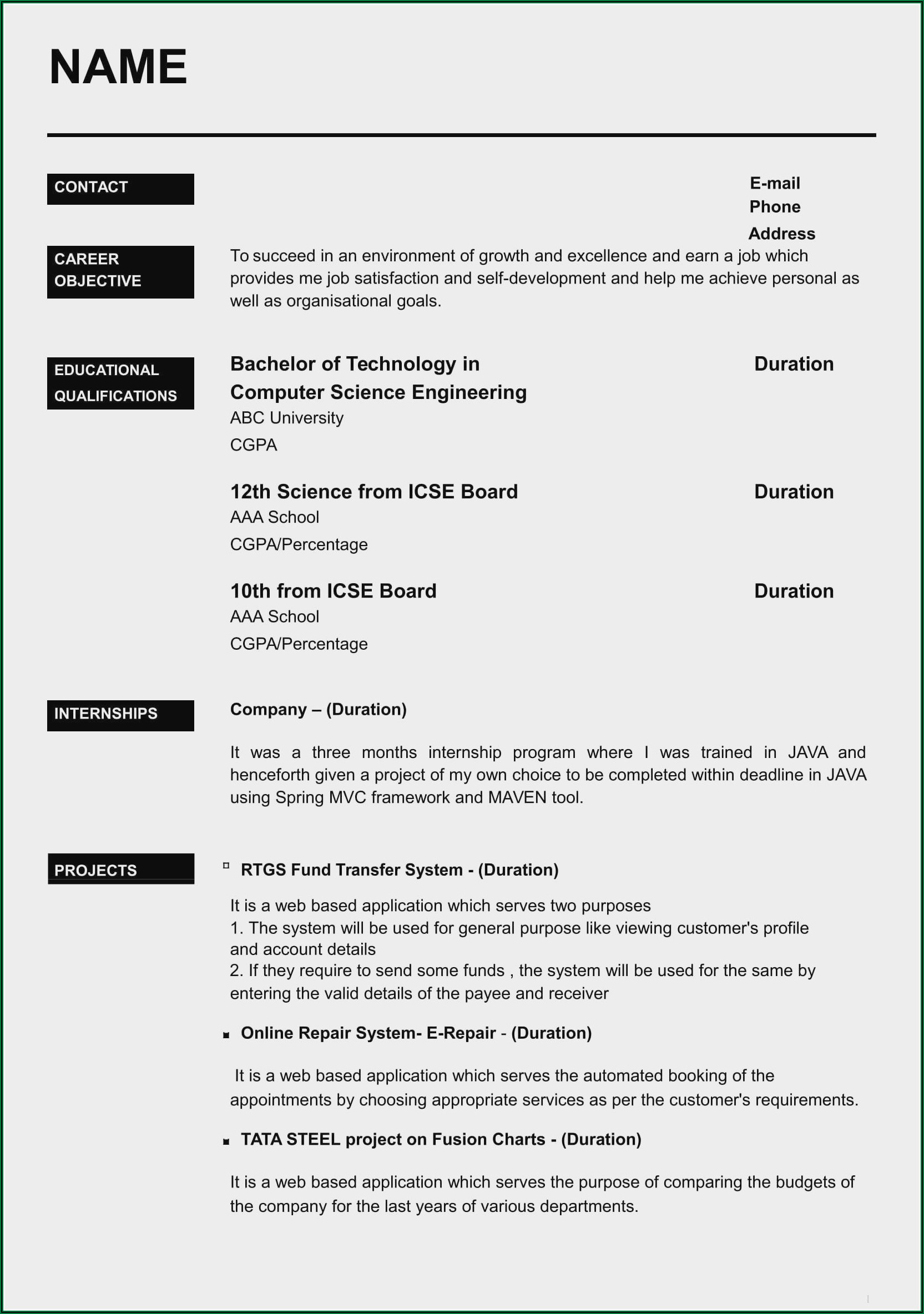 Best Resume Format For Freshers Engineers Free Download Doc