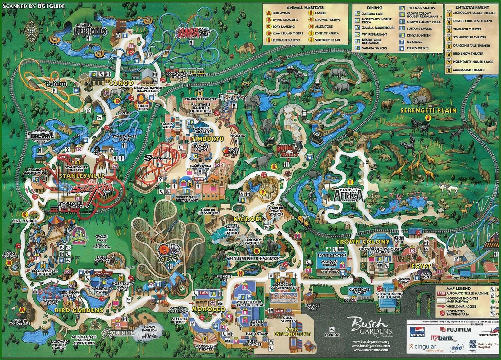 Busch Gardens Tampa Park Map 2019