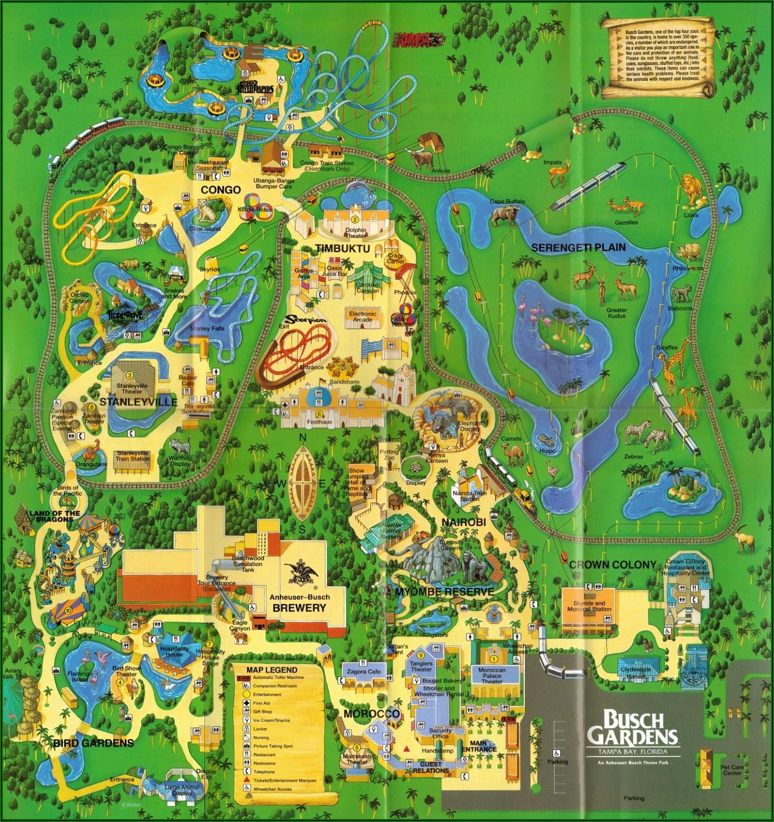 Busch Gardens Tampa Park Map 2020