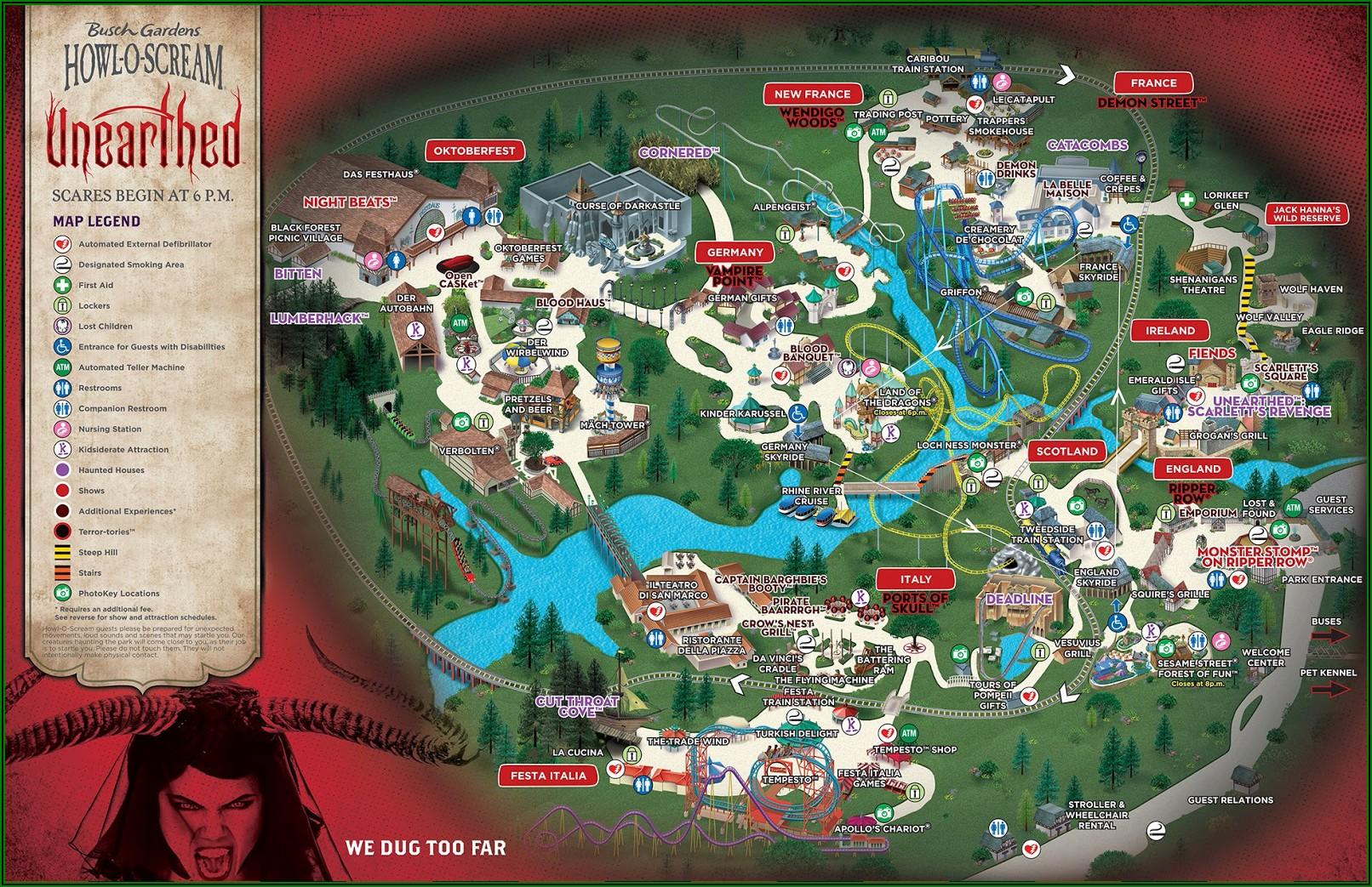Busch Gardens Williamsburg Howl O Scream Map