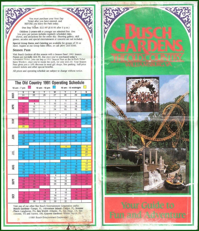 Busch Gardens Williamsburg Map 1997