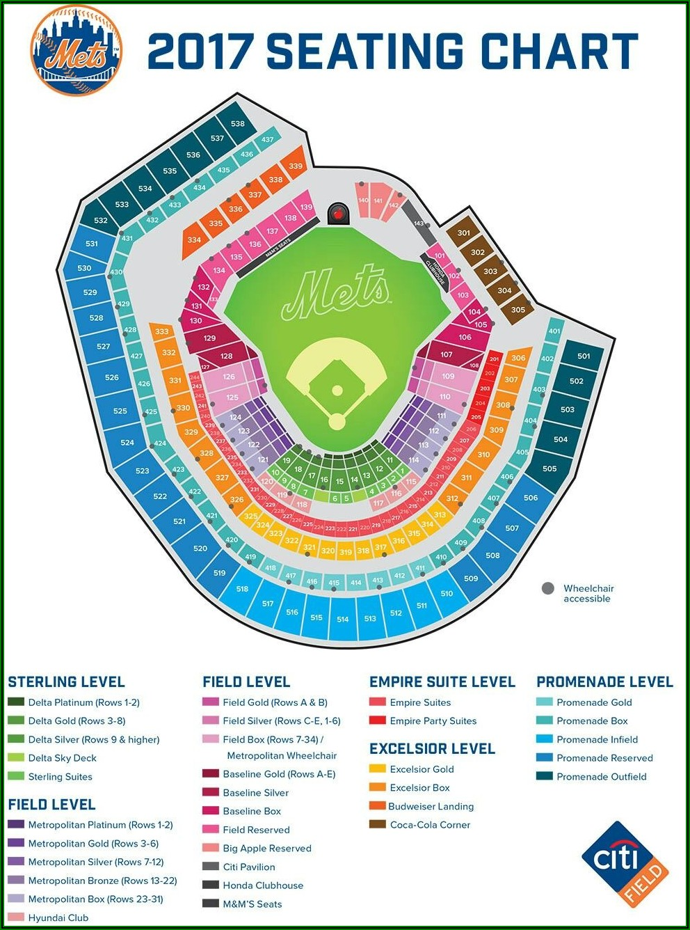 Citi Field Seating Chart With Rows And Seat Numbers