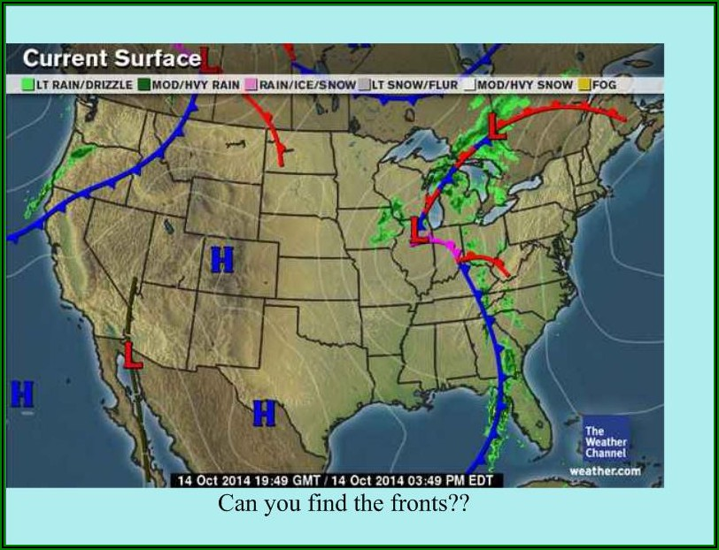 Classic Weather Map With Fronts