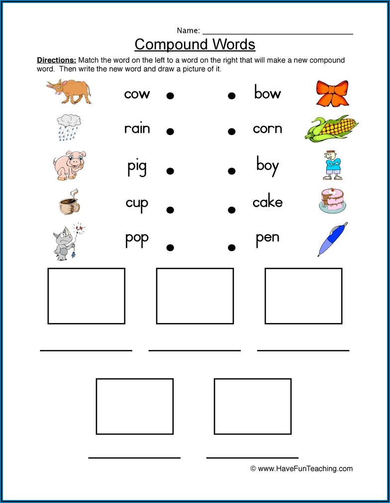 Compound Words Worksheet Kinder