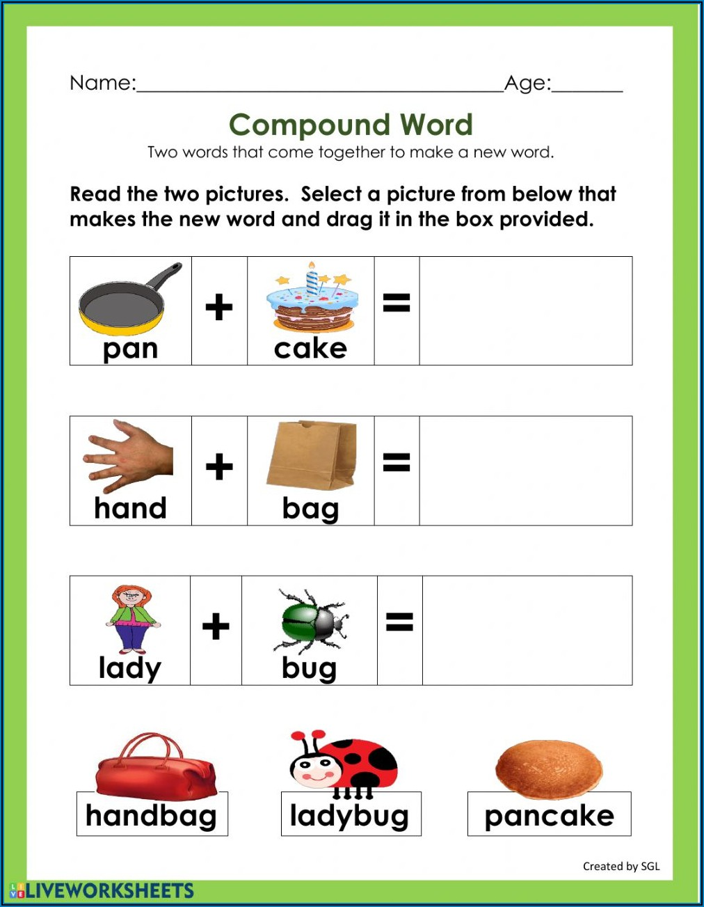 Compound Words Worksheets With Pictures For Kindergarten