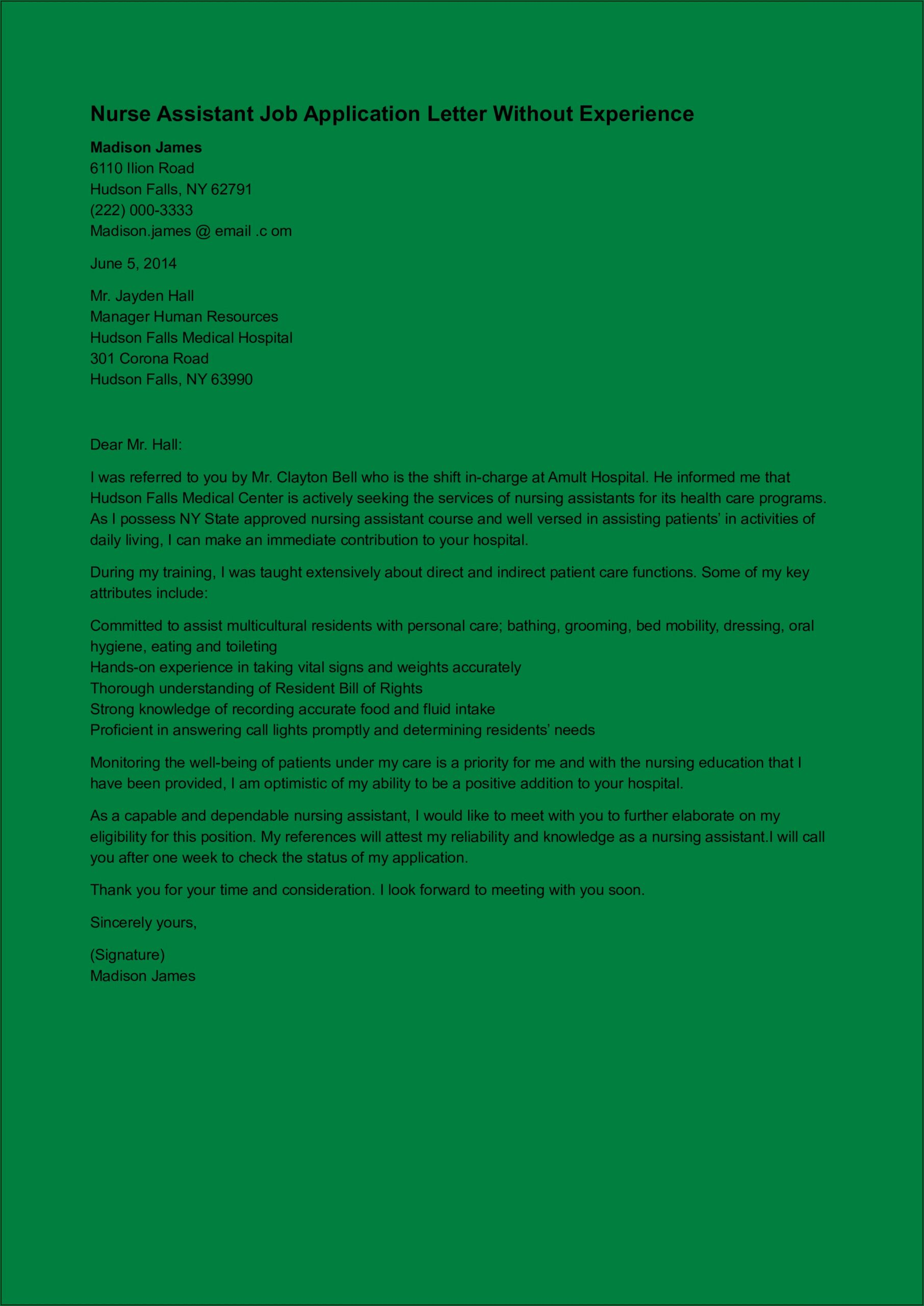 Cover Letter Examples For Nursing Assistant With No Experience