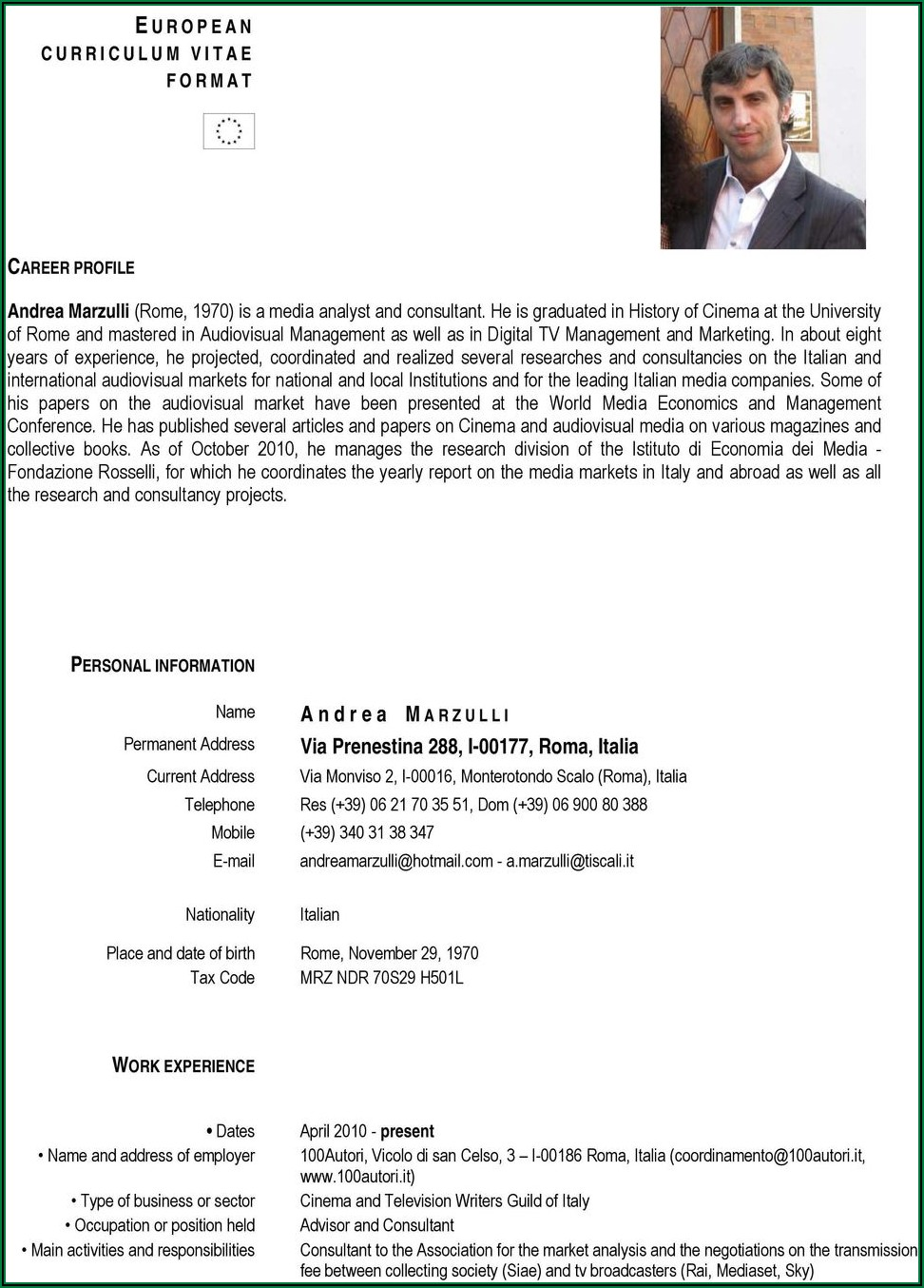 Curriculum Vitae Format Pdf Free Download