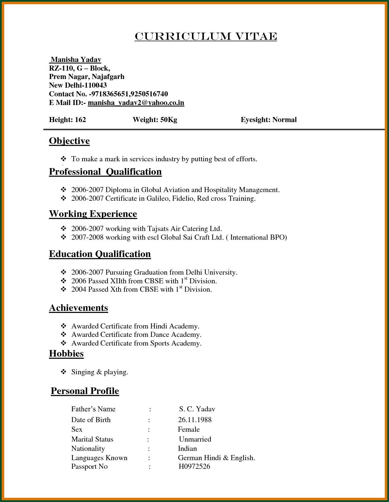 Cv Resume Format Pdf Download Free