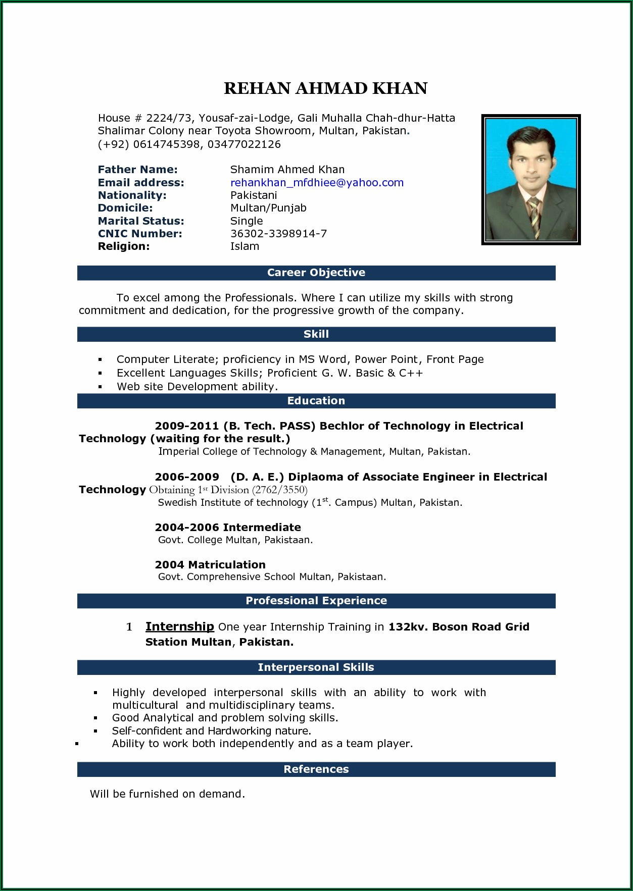 Cv Template Word Document Download