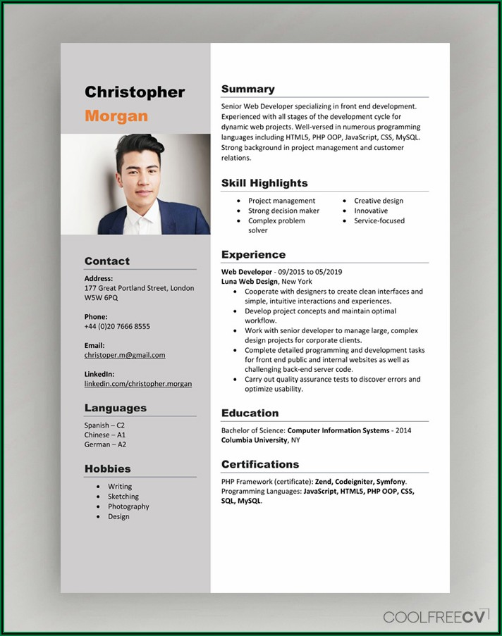 Cv Template Word Free Download 2020 Doc