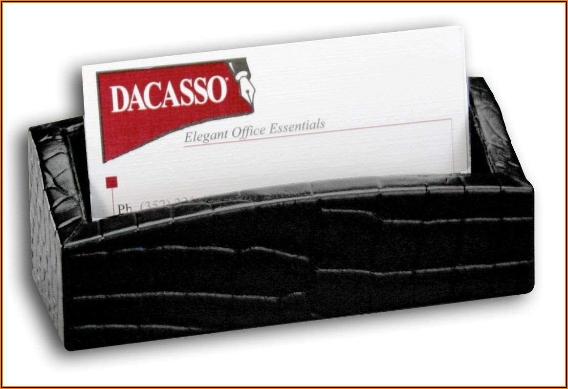Embossed Leather Business Card Holder