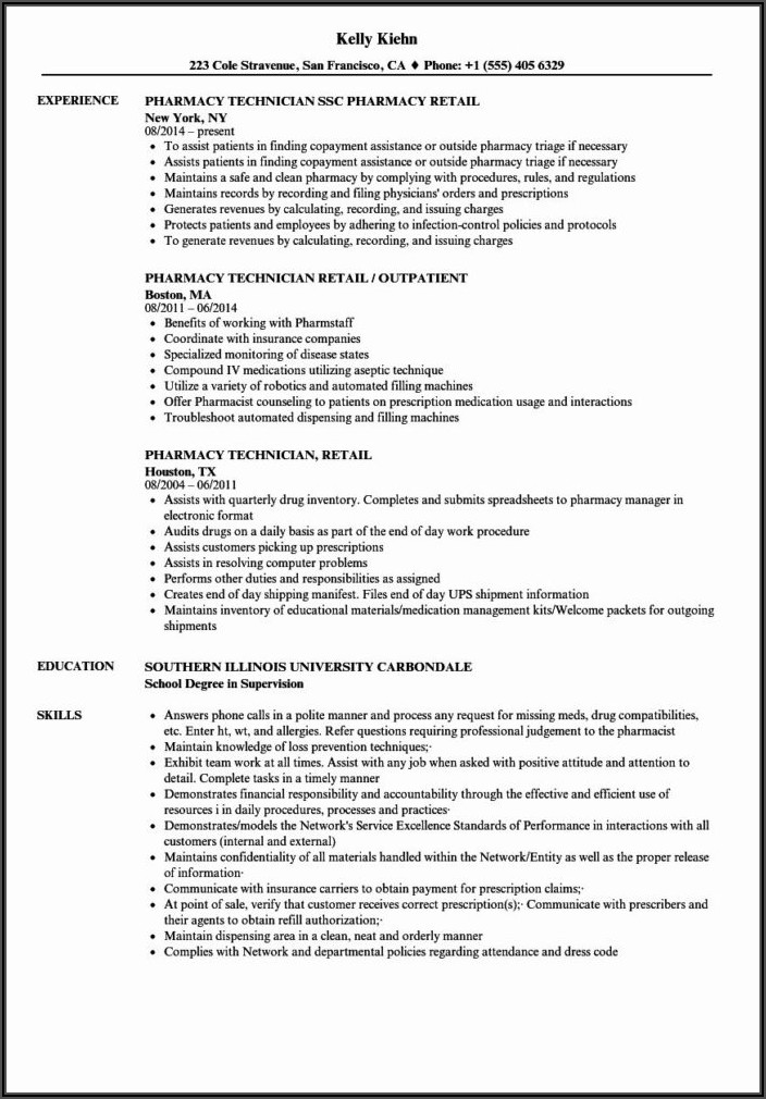 Entry Level Pharmacy Tech Resume Sample
