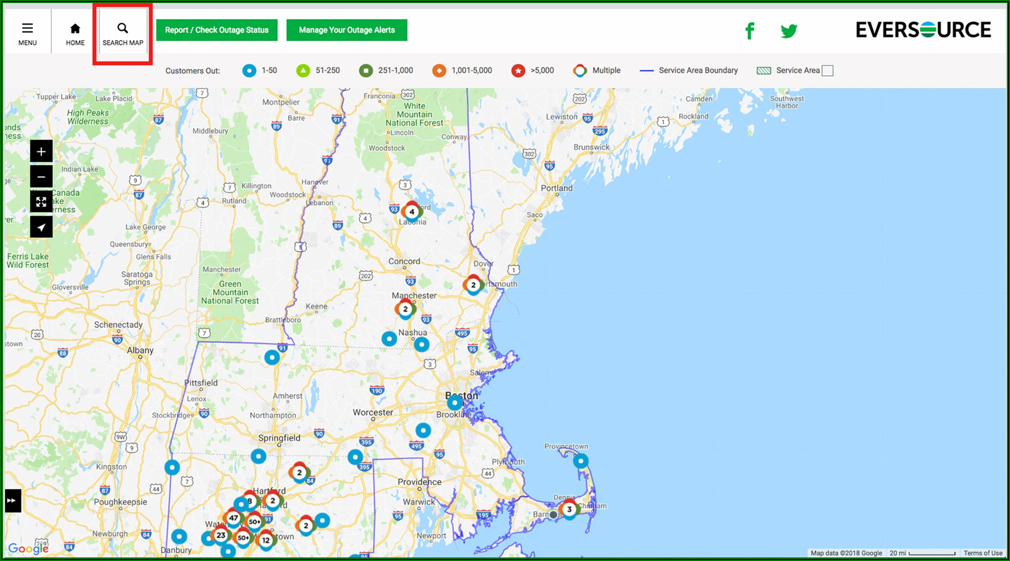 Eversource Outage Map Western Massachusetts