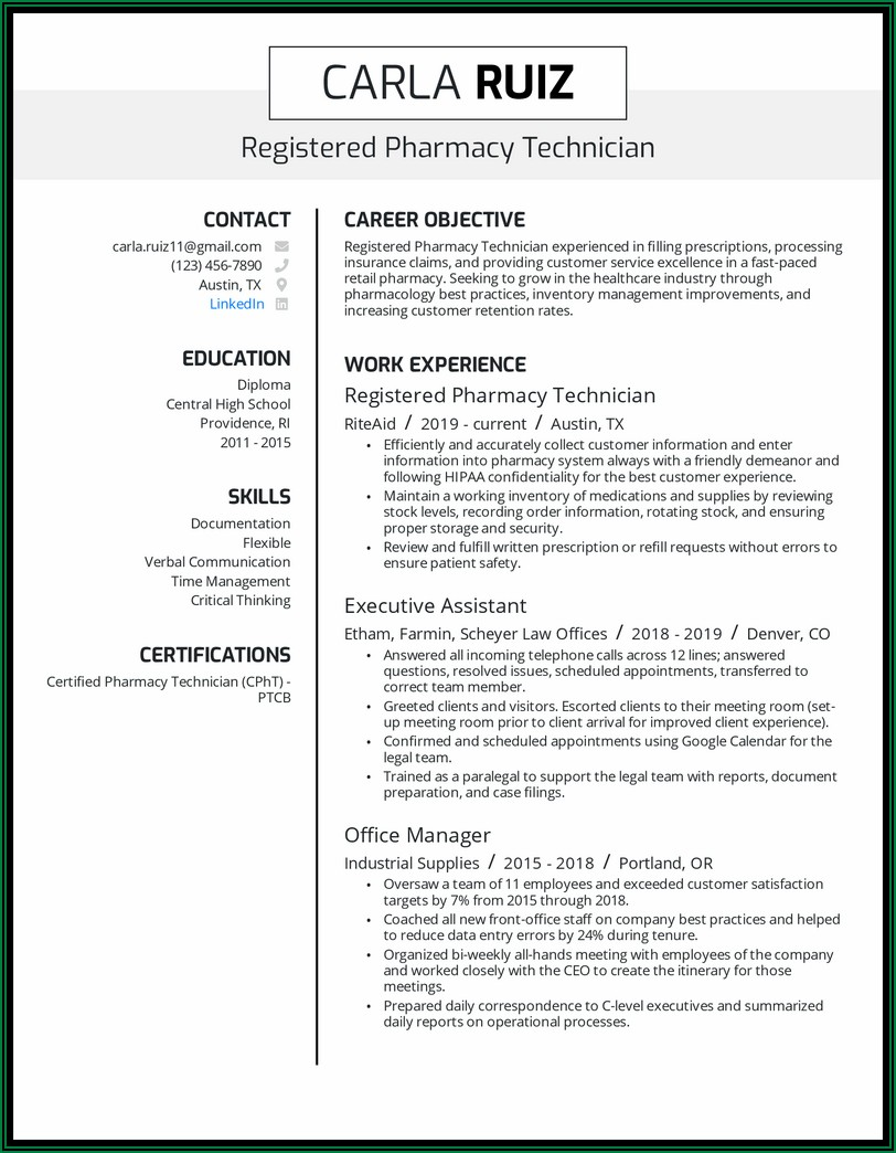 Example Of Pharmacy Technician Cv