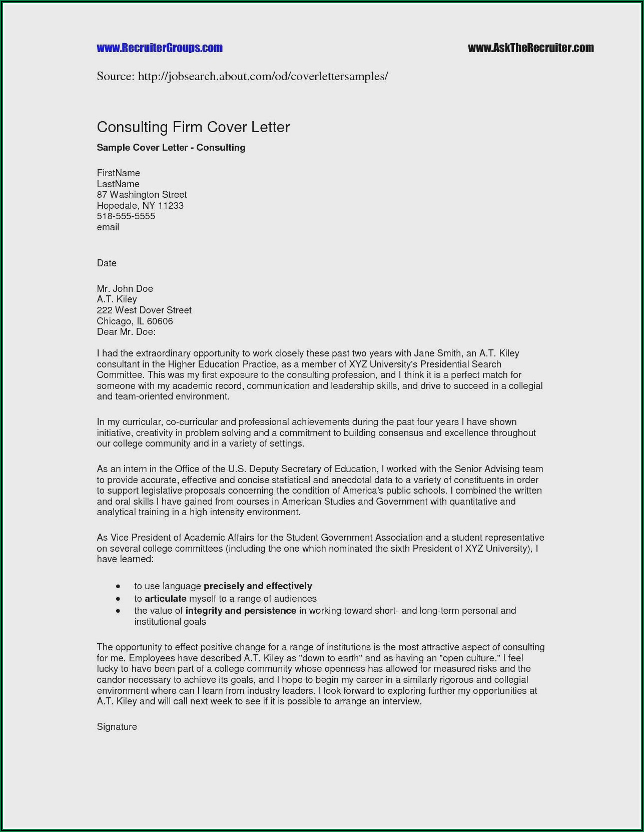 Example Of Professional Resume And Cover Letter