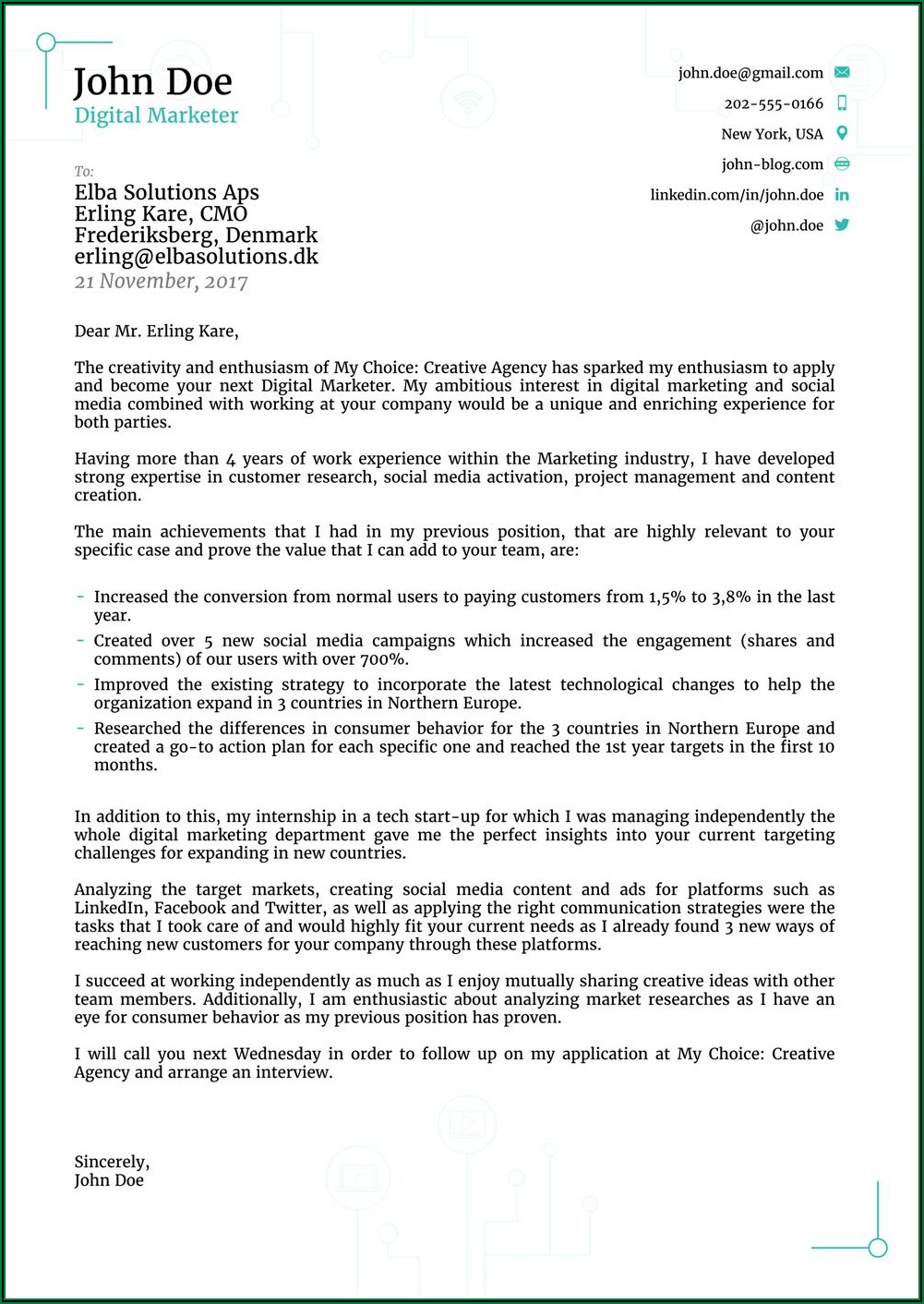 Examples Of Job Resume Cover Letter