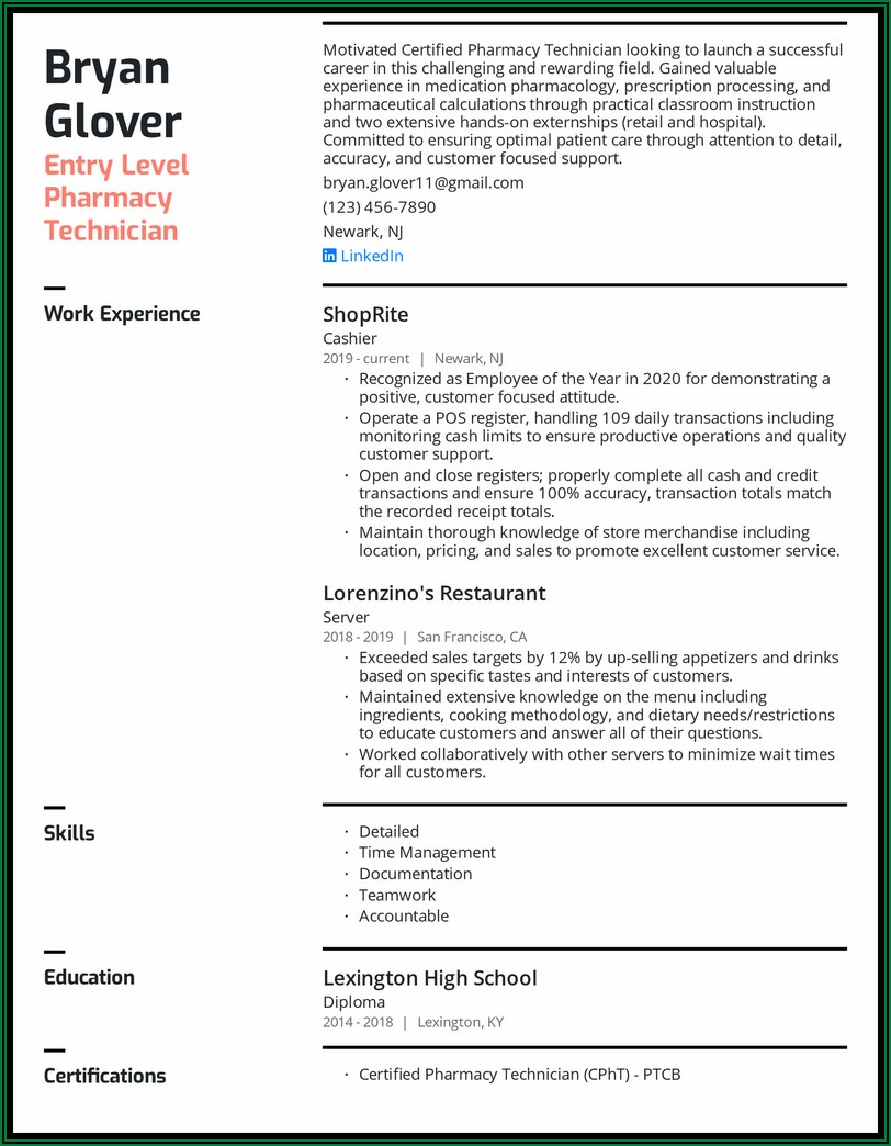 Examples Of Pharmacy Tech Resumes
