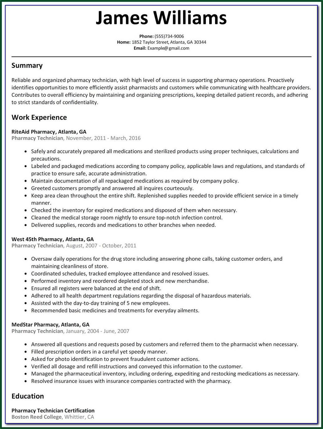 Examples Of Pharmacy Technician Resumes