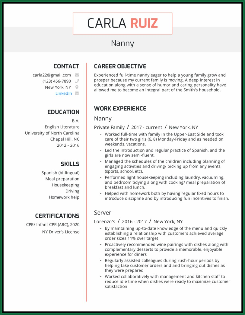 Examples Of Professional Nanny Resumes