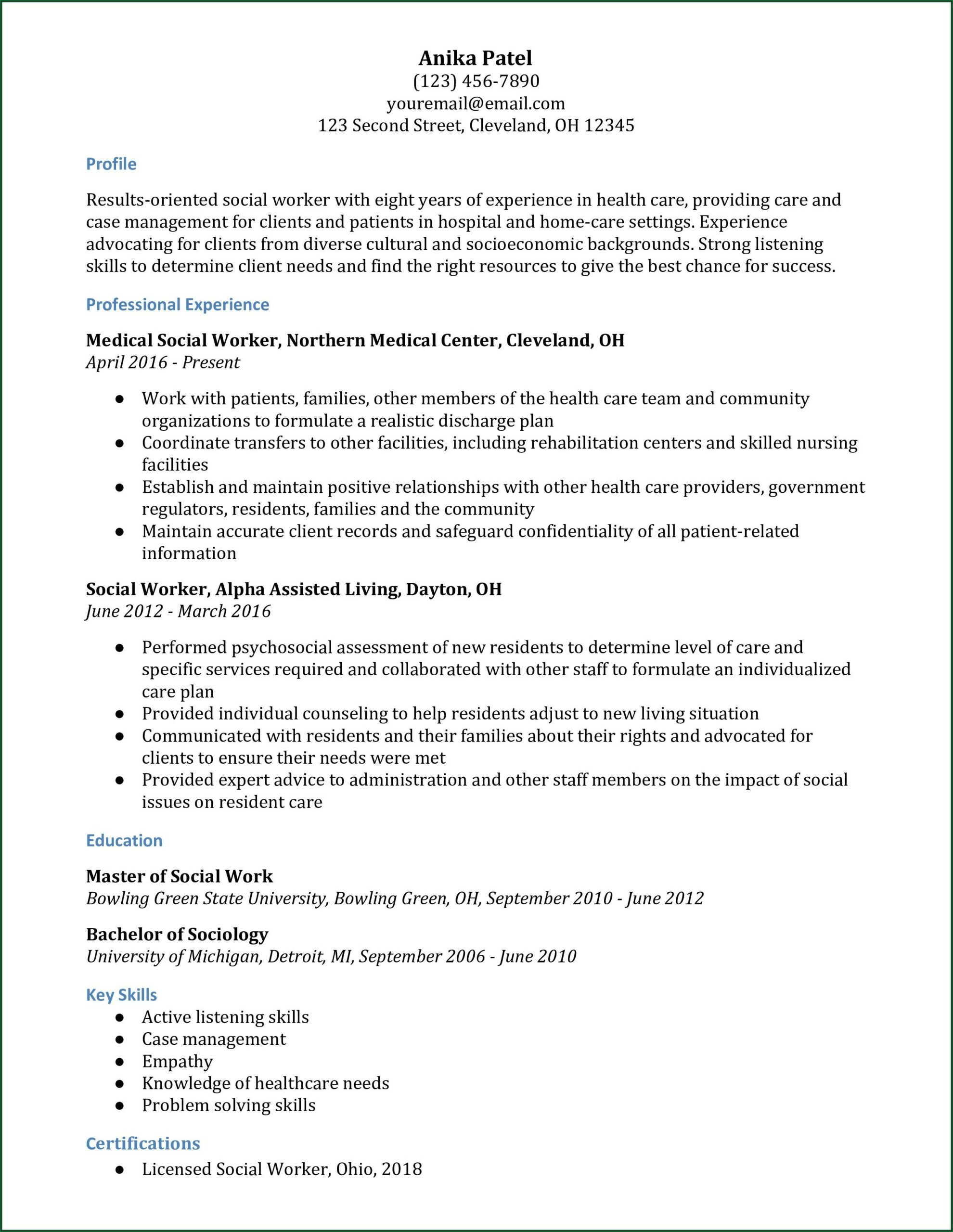 Examples Of Professional Resumes For Social Workers