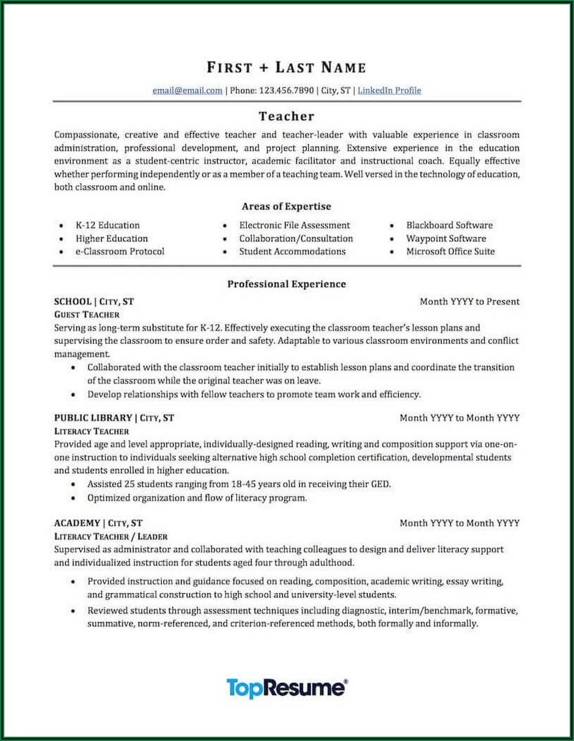 Examples Of Professional Resumes For Teachers