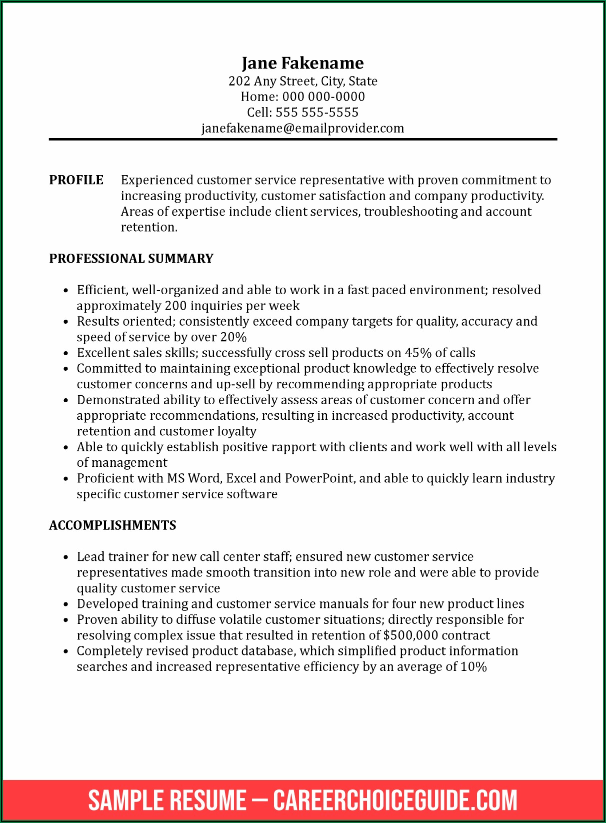 Examples Of Professional Summary For Customer Service Resume