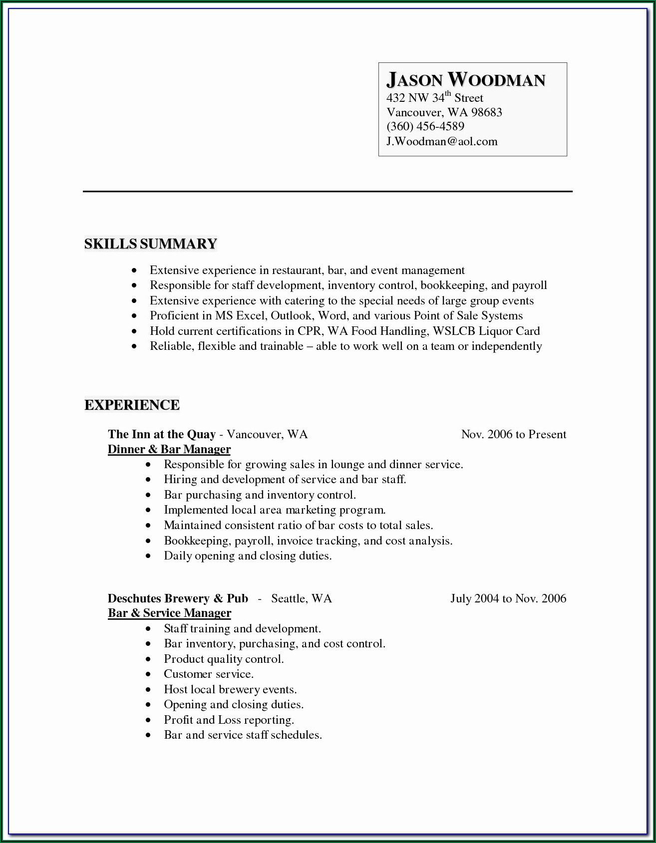 Free Fill In Resumes Printable