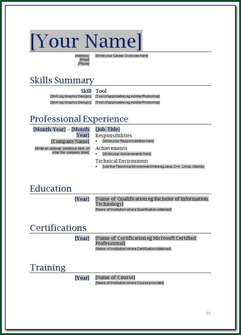 Free Printable Resume Templates 2018