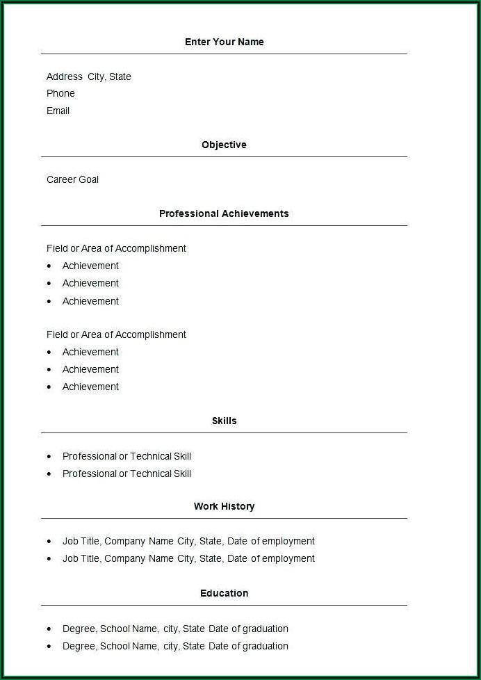 Free Printable Resume Templates Download