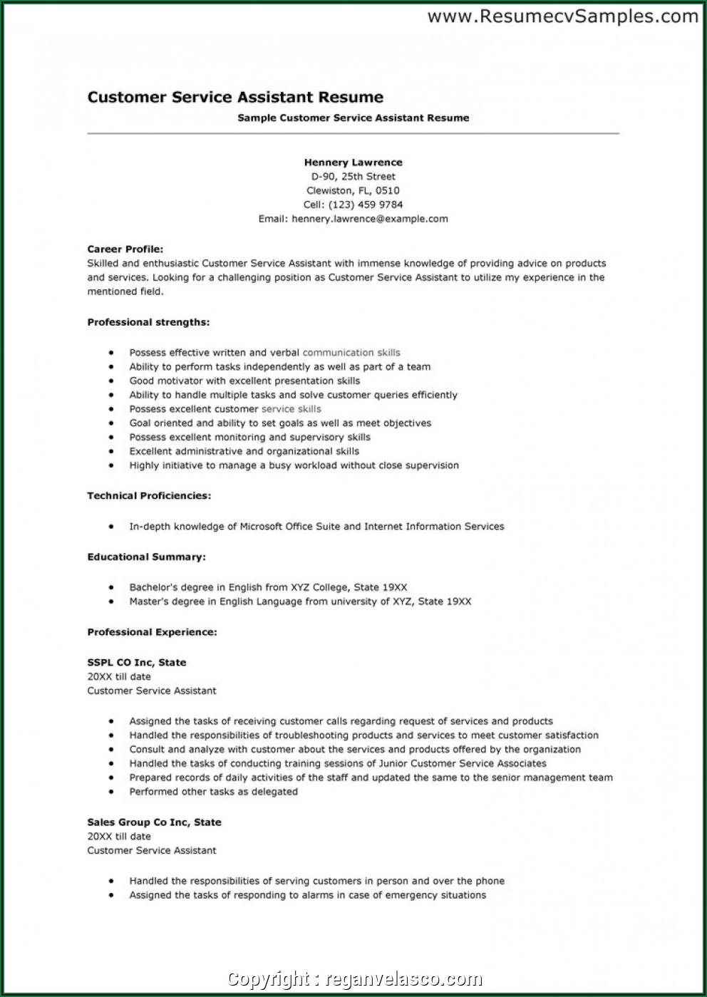 Free Sample Resume For Customer Service
