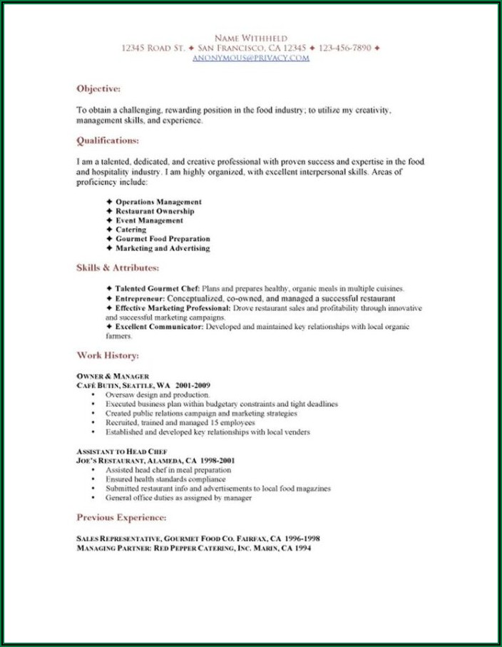 Free Sample Resume For Food Service Worker