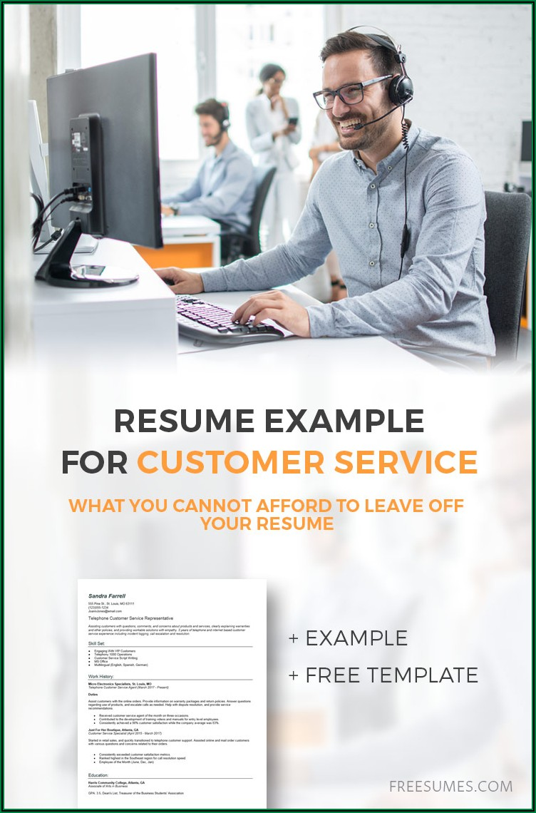 Free Sample Resumes For Customer Service Jobs