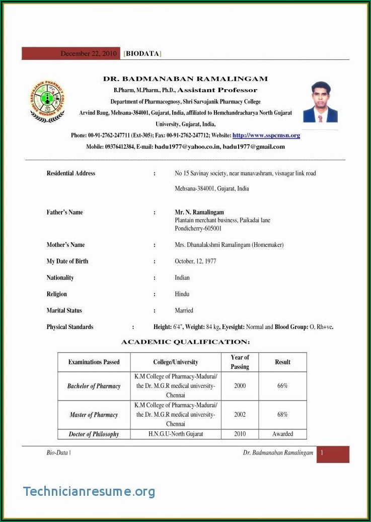 Fresher Resume Format Word File Download