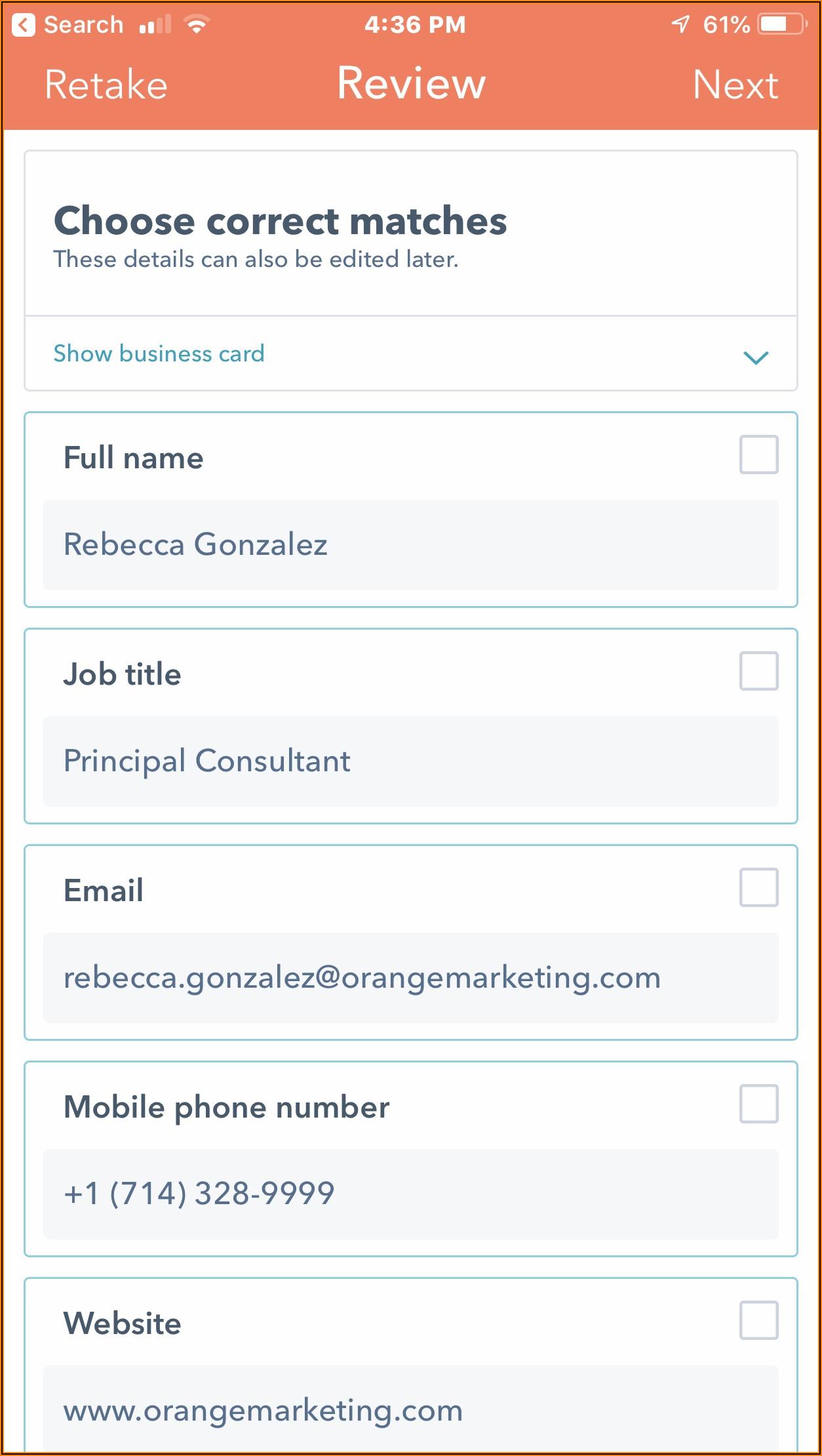 Hubspot Business Card Scanner App