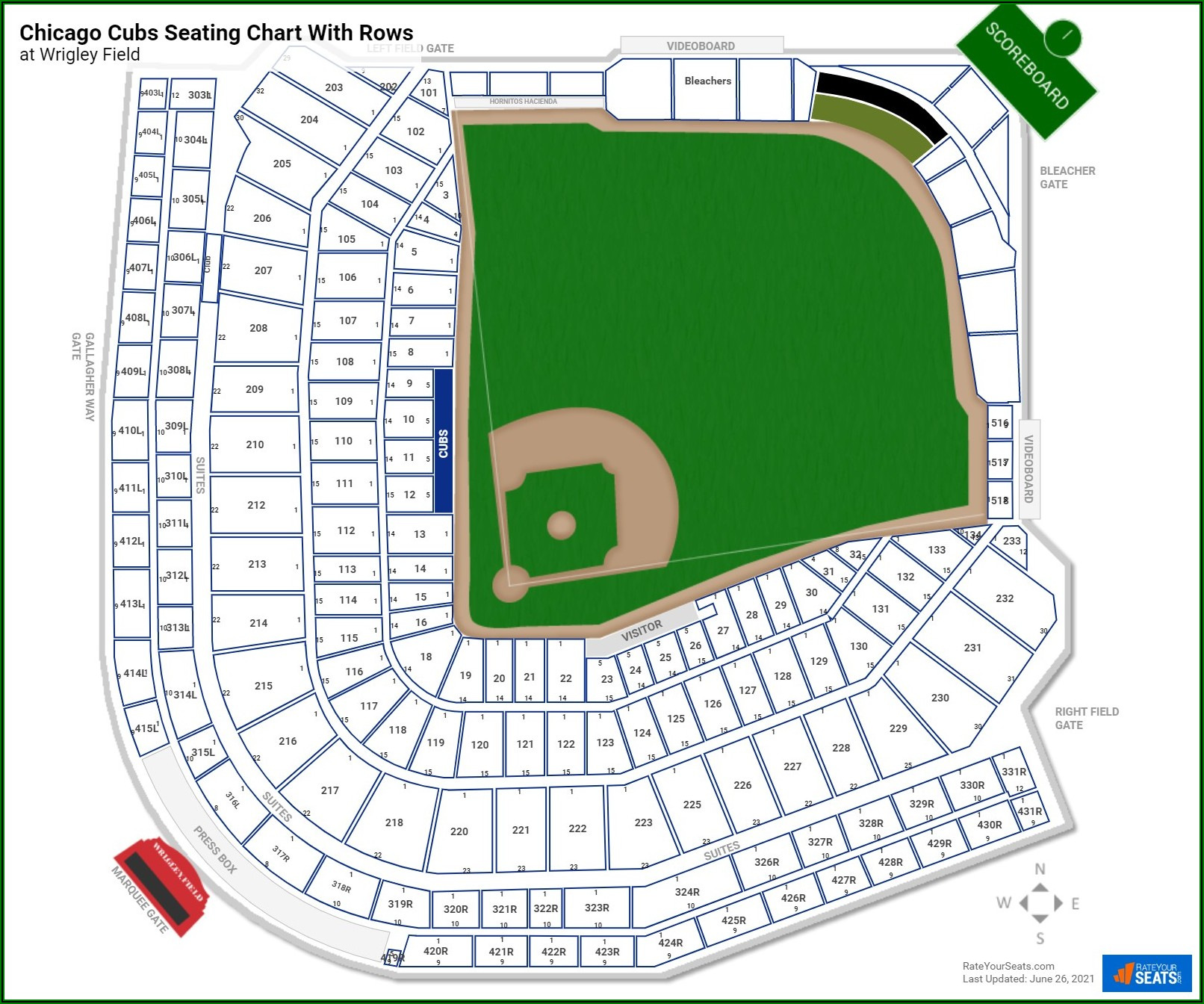 Interactive Wrigley Field Seating Chart With Seat Numbers