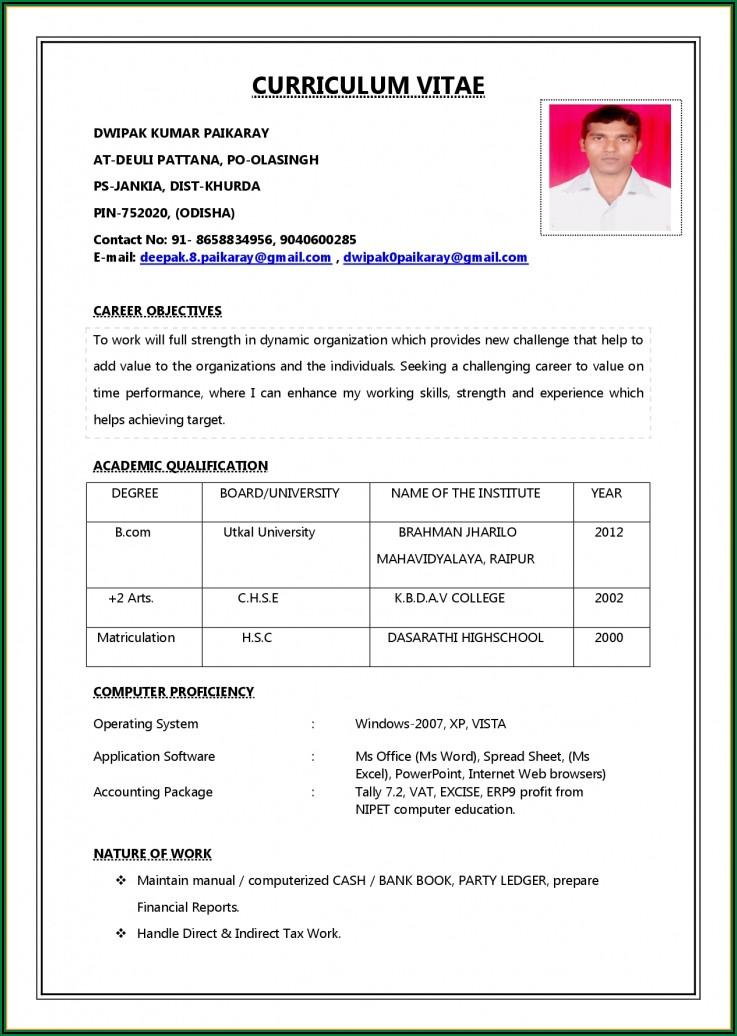 Job Resume Format Pdf Download Free