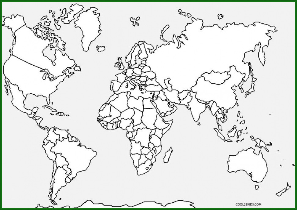 Large World Map Coloring Page