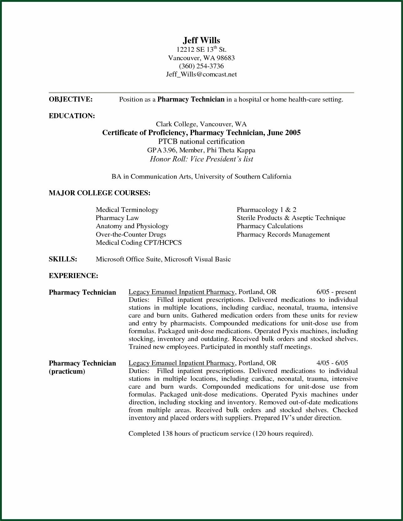 Pharmacy Tech Resume Objective Samples
