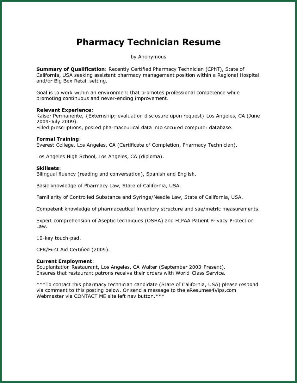 Pharmacy Technician Resume Cover Letter Examples