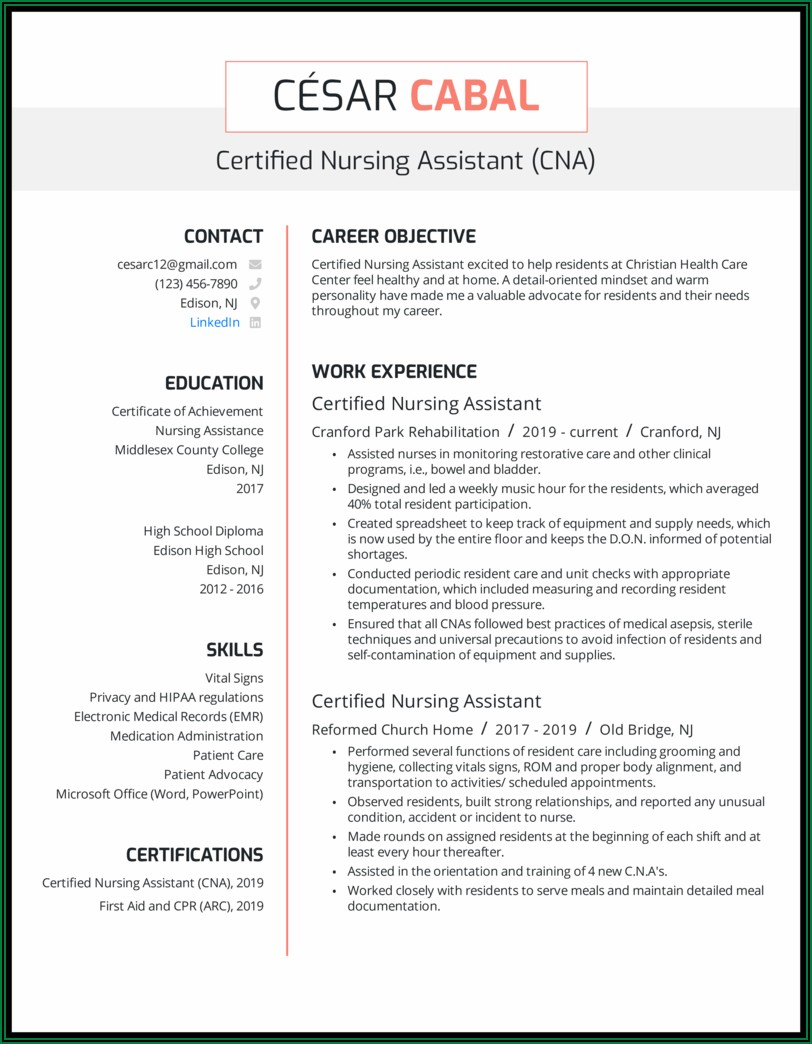 Resume Examples For Nursing Assistant